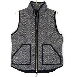 J Crew Herringbone Puffer Quilted Vest Zip Up
